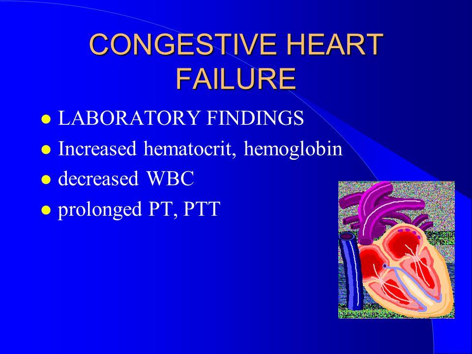CONGESTIVE HEART FAILURE LABORATORY FINDINGS Increased hematocrit, hemoglobin decreased WBC prolonged PT, PTT