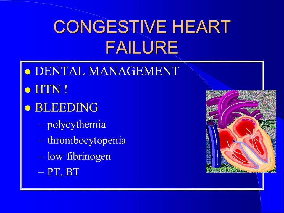 CONGESTIVE HEART FAILURE DENTAL MANAGEMENT HTN .