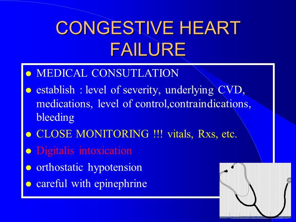 CONGESTIVE HEART FAILURE MEDICAL CONSUTLATION establish : level of severity, underlying CVD, medications, level of control,contraindications, bleeding CLOSE MONITORING !!.