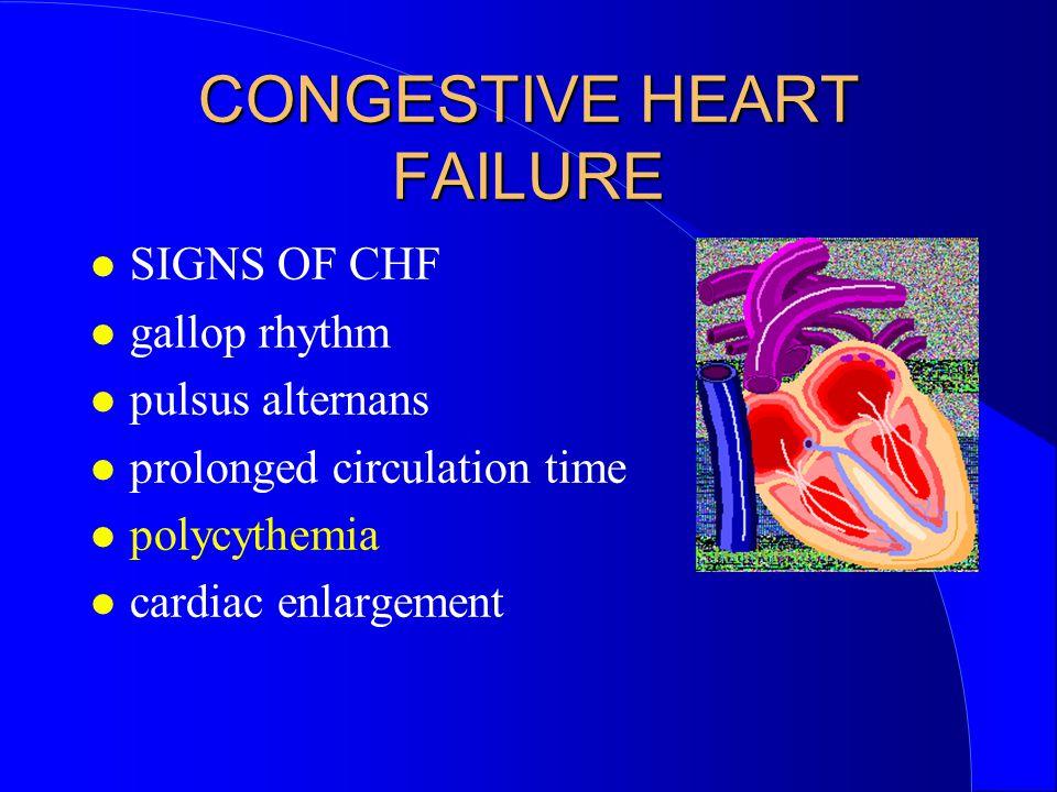 CONGESTIVE HEART FAILURE SIGNS OF CHF gallop rhythm pulsus alternans prolonged circulation time polycythemia cardiac enlargement