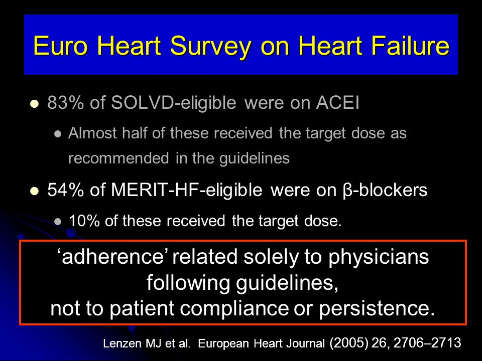 83% of SOLVD-eligible were on ACEI Almost half of these received the target dose as recommended in the guidelines 54% of MERIT-HF-eligible were on β-b