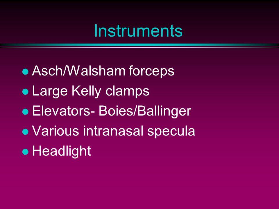 Instruments Asch/Walsham forceps Large Kelly clamps Elevators- Boies/Ballinger Various intranasal specula Headlight