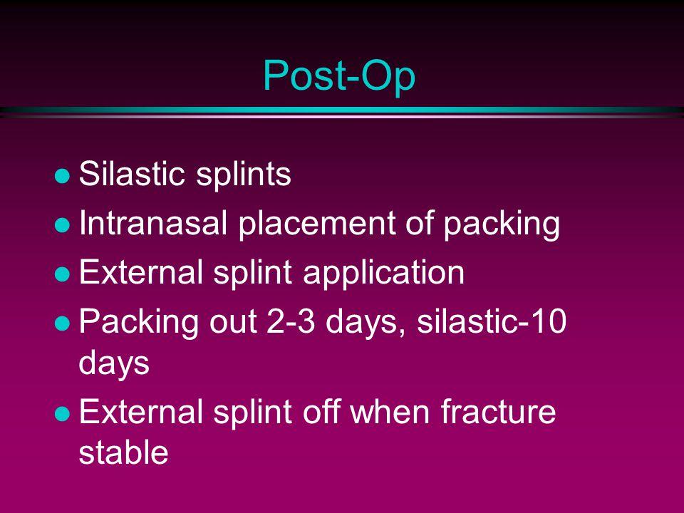 Post-Op Silastic splints Intranasal placement of packing External splint application Packing out 2-3 days, silastic-10 days External splint off when f