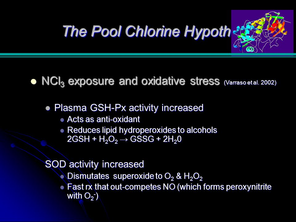 The Pool Chlorine Hypothesis NCl 3 exposure and oxidative stress (Varraso et al.