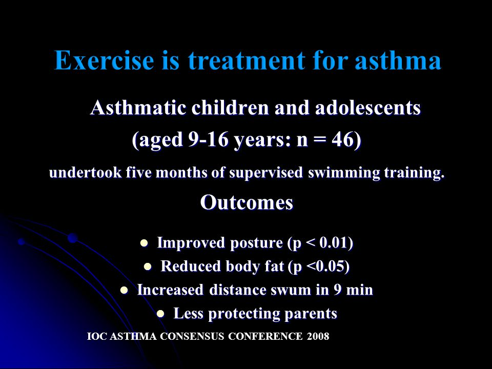 Asthmatic children and adolescents (aged 9-16 years: n = 46) undertook five months of supervised swimming training.