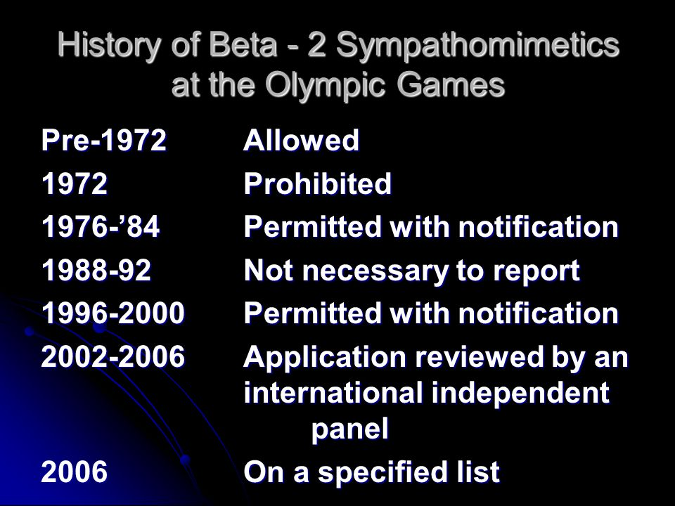 History of Beta - 2 Sympathomimetics at the Olympic Games Pre-1972Allowed 1972Prohibited 1976-'84Permitted with notification 1988-92Not necessary to r