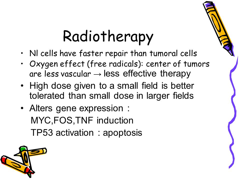 Radiotherapy Nl cells have faster repair than tumoral cells Oxygen effect (free radicals): center of tumors are less vascular → less effective therapy