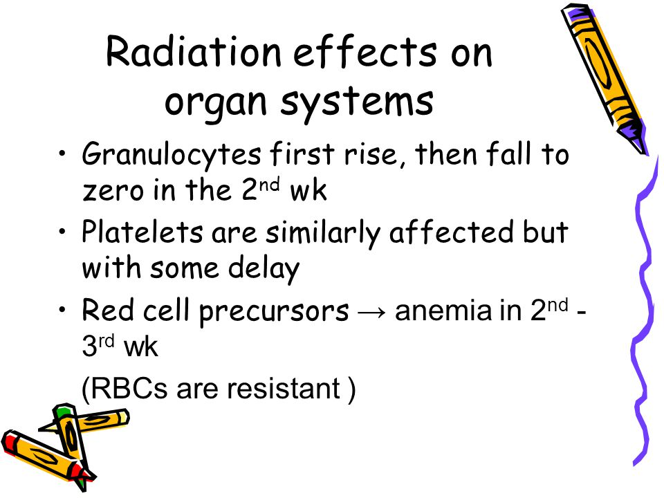 Radiation effects on organ systems Granulocytes first rise, then fall to zero in the 2 nd wk Platelets are similarly affected but with some delay Red