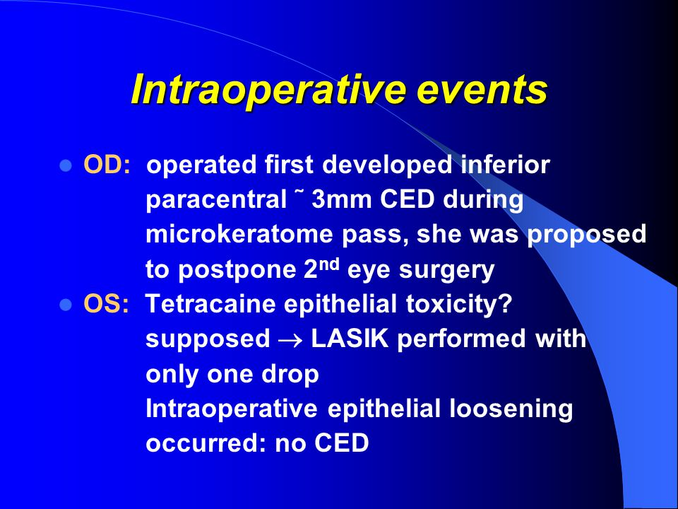 Intraoperative events OD: operated first developed inferior paracentral ˜ 3mm CED during microkeratome pass, she was proposed to postpone 2 nd eye surgery OS: Tetracaine epithelial toxicity.