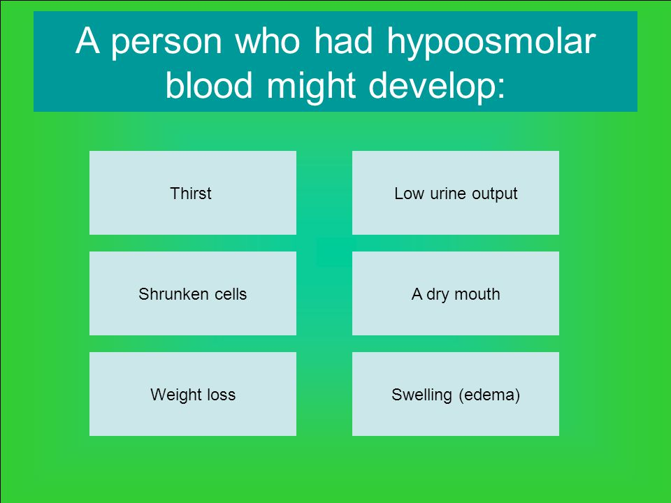 A person who had hypoosmolar blood might develop: Thirst Weight lossSwelling (edema) A dry mouth Low urine output Shrunken cells