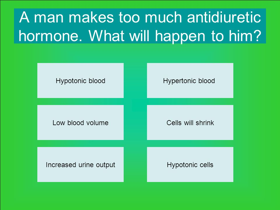 A man makes too much antidiuretic hormone. What will happen to him.