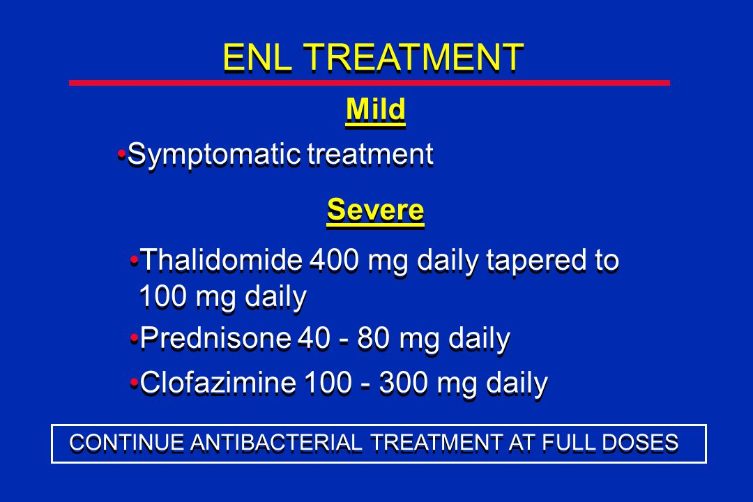 ENL TREATMENT Mild Symptomatic treatment Severe Thalidomide 400 mg daily tapered to 100 mg daily Thalidomide 400 mg daily tapered to 100 mg daily Prednisone 40 - 80 mg daily Clofazimine 100 - 300 mg daily CONTINUE ANTIBACTERIAL TREATMENT AT FULL DOSES