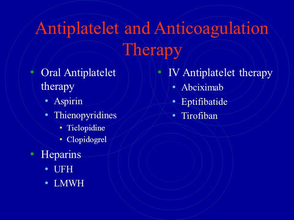 Antiplatelet and Anticoagulation Therapy Oral Antiplatelet therapy Aspirin Thienopyridines Ticlopidine Clopidogrel Heparins UFH LMWH IV Antiplatelet t