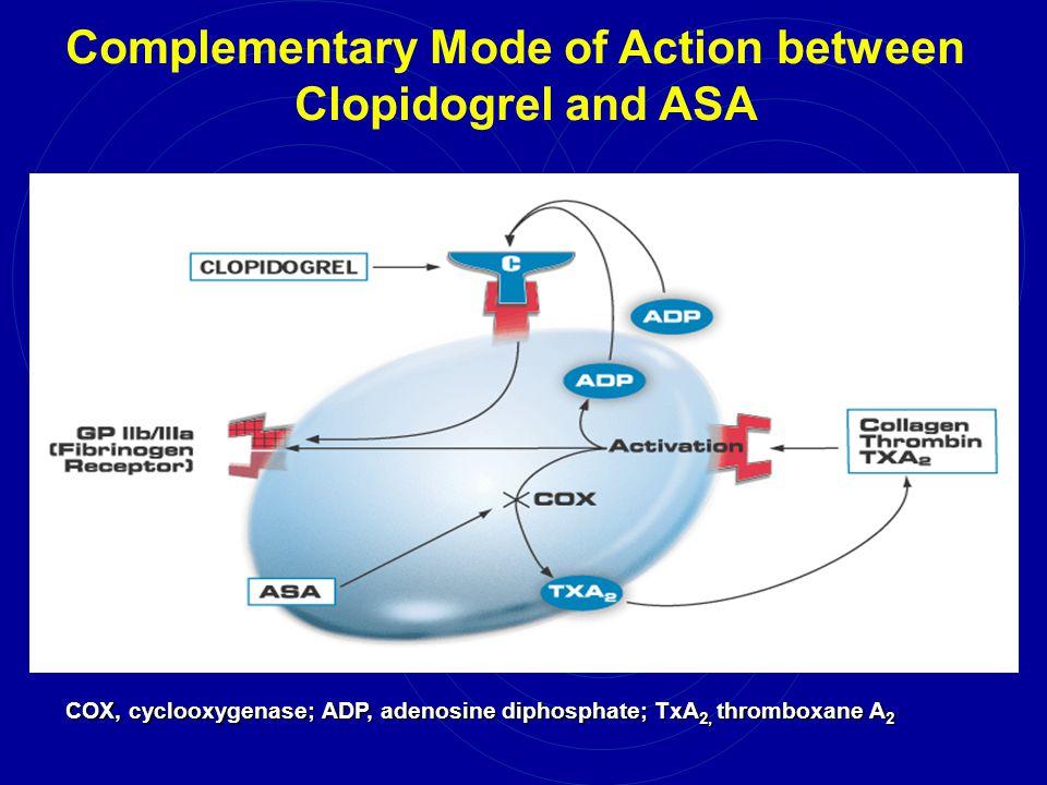 Complementary Mode of Action between Clopidogrel and ASA COX, cyclooxygenase; ADP, adenosine diphosphate; TxA 2, thromboxane A 2