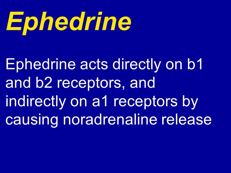 Ephedrine Ephedrine acts directly on b1 and b2 receptors, and indirectly on a1 receptors by causing noradrenaline release