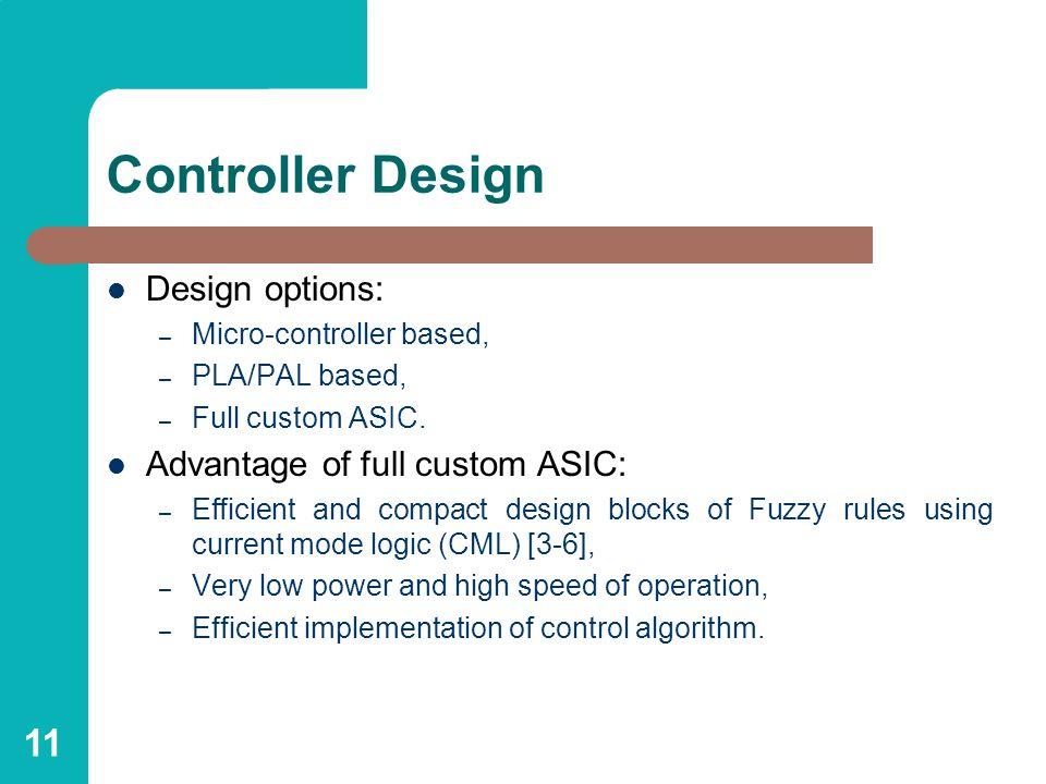 11 Controller Design Design options: – Micro-controller based, – PLA/PAL based, – Full custom ASIC.