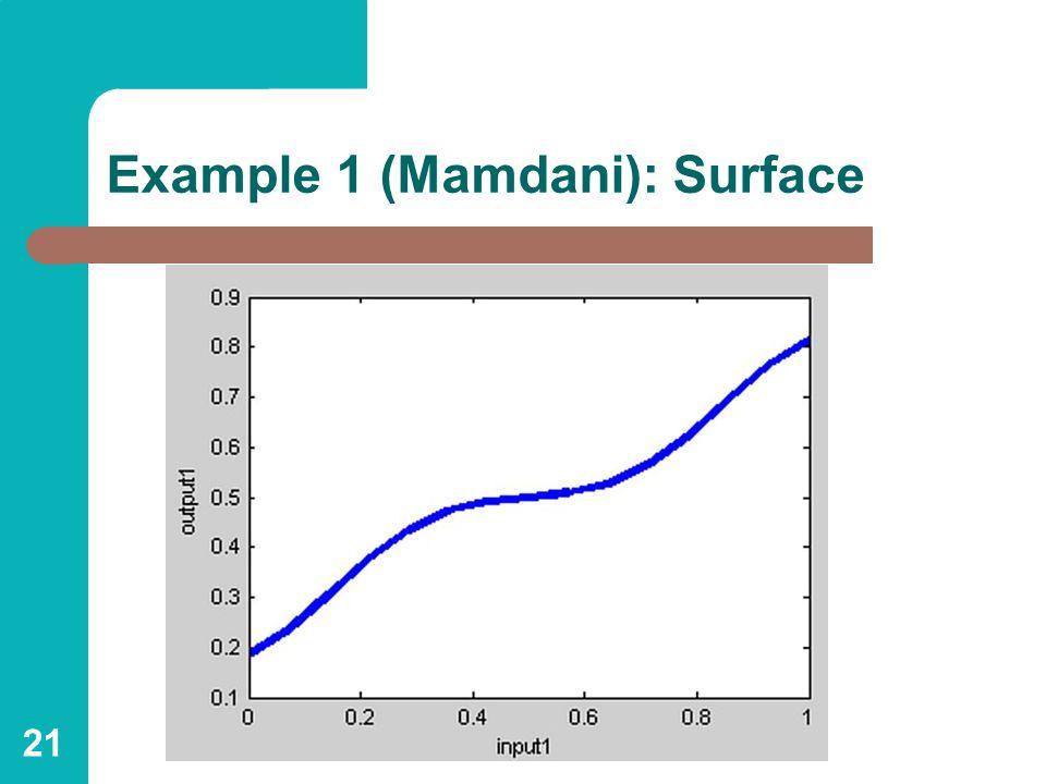 21 Example 1 (Mamdani): Surface