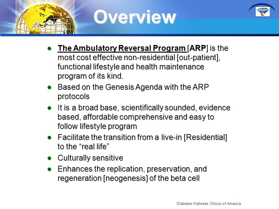 Overview The Ambulatory Reversal Program [ARP] is the most cost effective non-residential [out-patient], functional lifestyle and health maintenance p