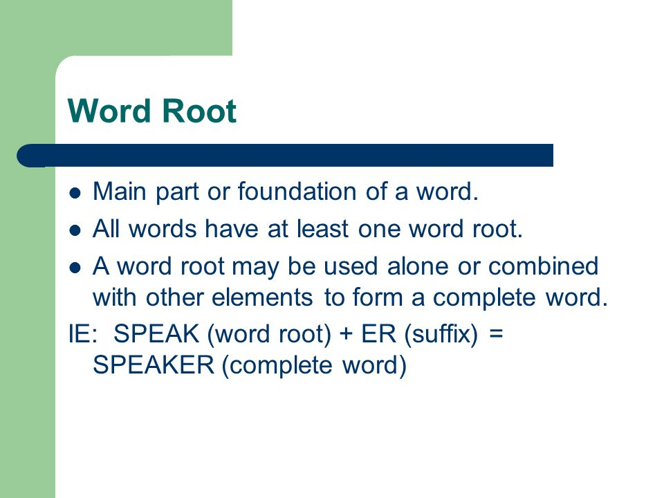 The word root usually refers to a body part.