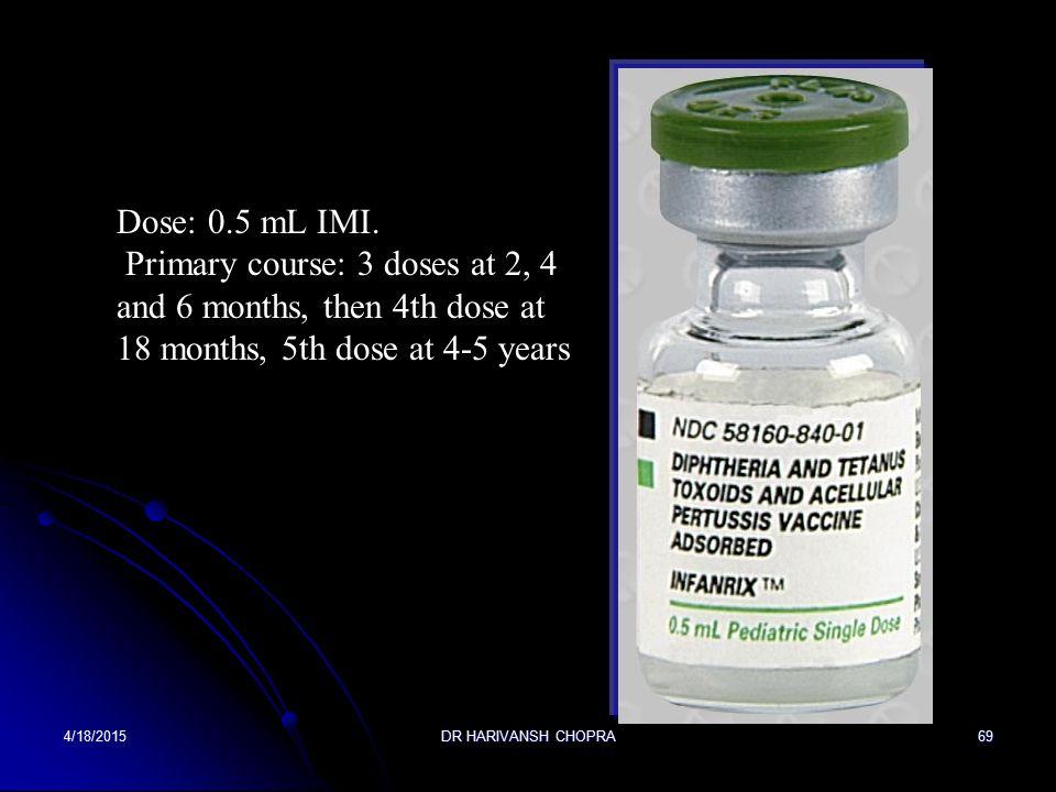 Diphtheria toxoid; Tetanus toxoid; Pertussis vaccine; Diphtheria toxoid 25 Lf, tetanus toxoid 10 Lf, purified Bordetella pertussis antigens (pertussis