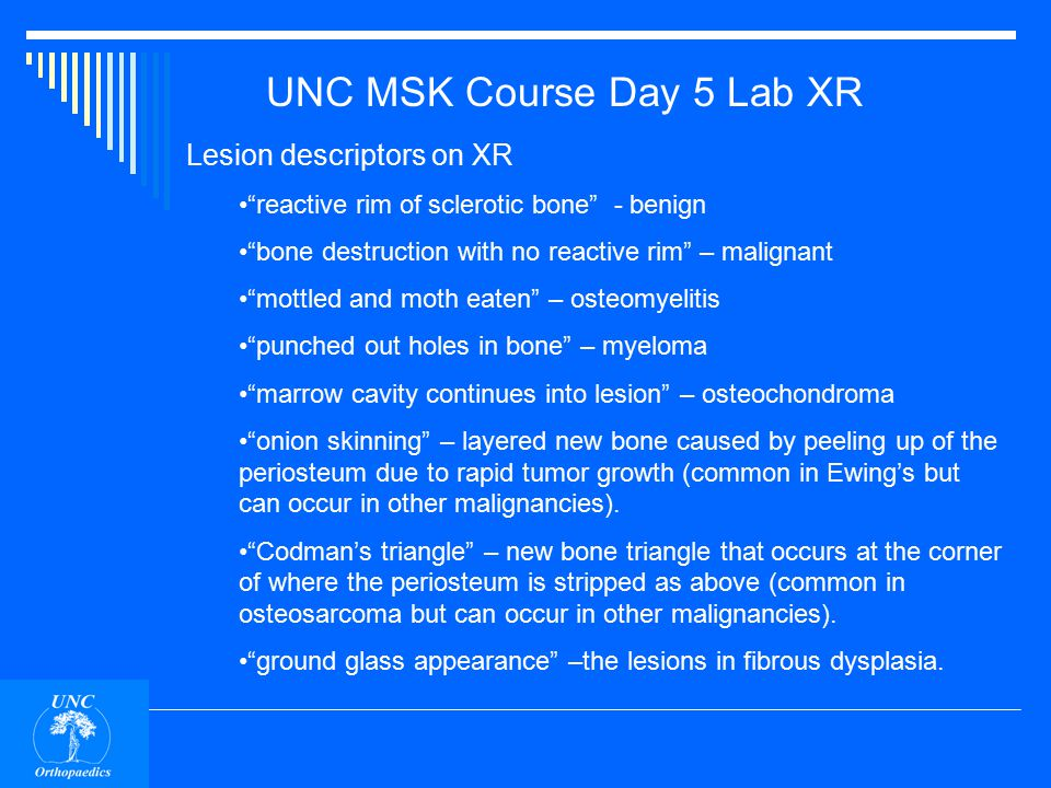 UNC MSK Course Day 5 Lab XR Lesion descriptors on XR reactive rim of sclerotic bone - bone destruction with no reactive rim – mottled and moth eaten – punched out holes in bone – marrow cavity continues into lesion – onion skinning – Codman's triangle – ground glass appearance –
