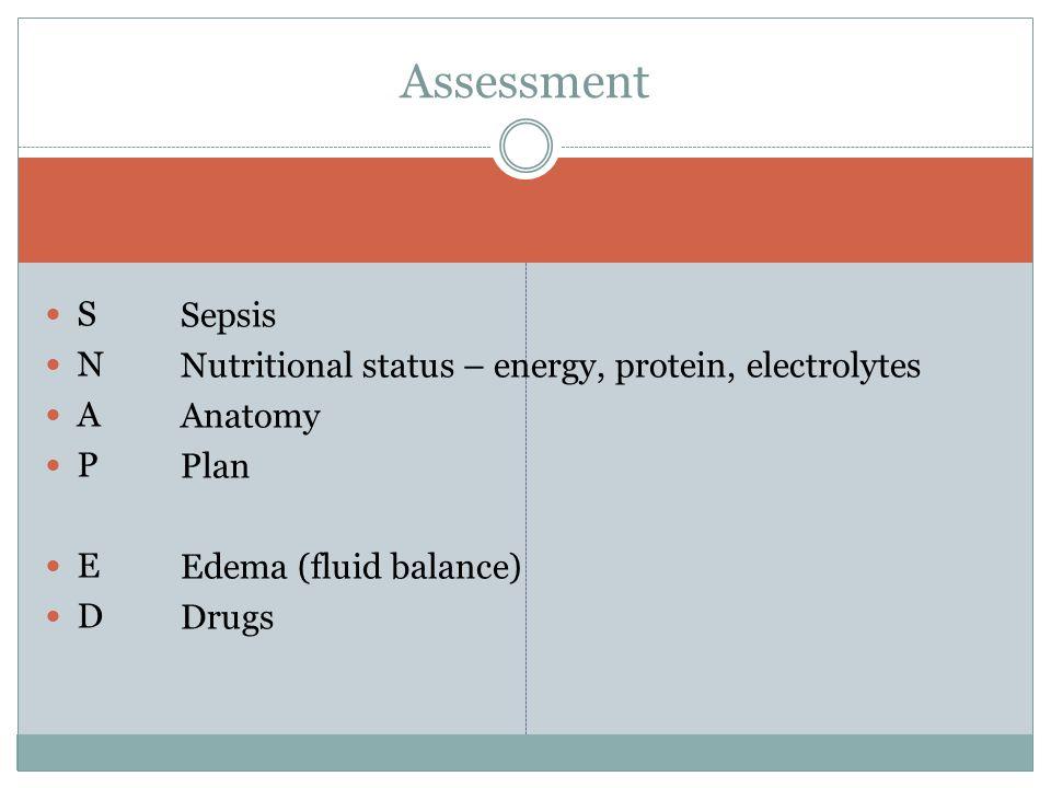 S N A P E D Sepsis Nutritional status – energy, protein, electrolytes Anatomy Plan Edema (fluid balance) Drugs Assessment