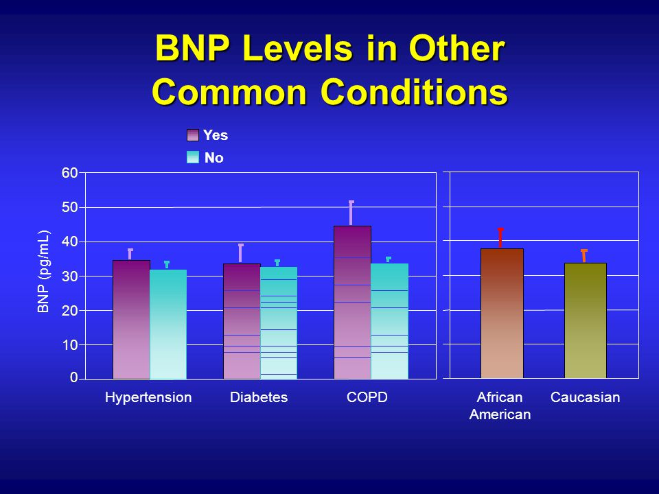 HypertensionDiabetesCOPDAfrican American Caucasian BNP (pg/mL) 0 10 20 30 40 50 60 Yes No BNP Levels in Other Common Conditions