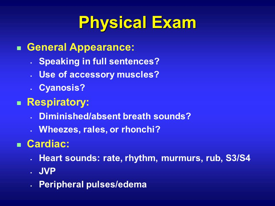 n General Appearance: Speaking in full sentences.Use of accessory muscles.