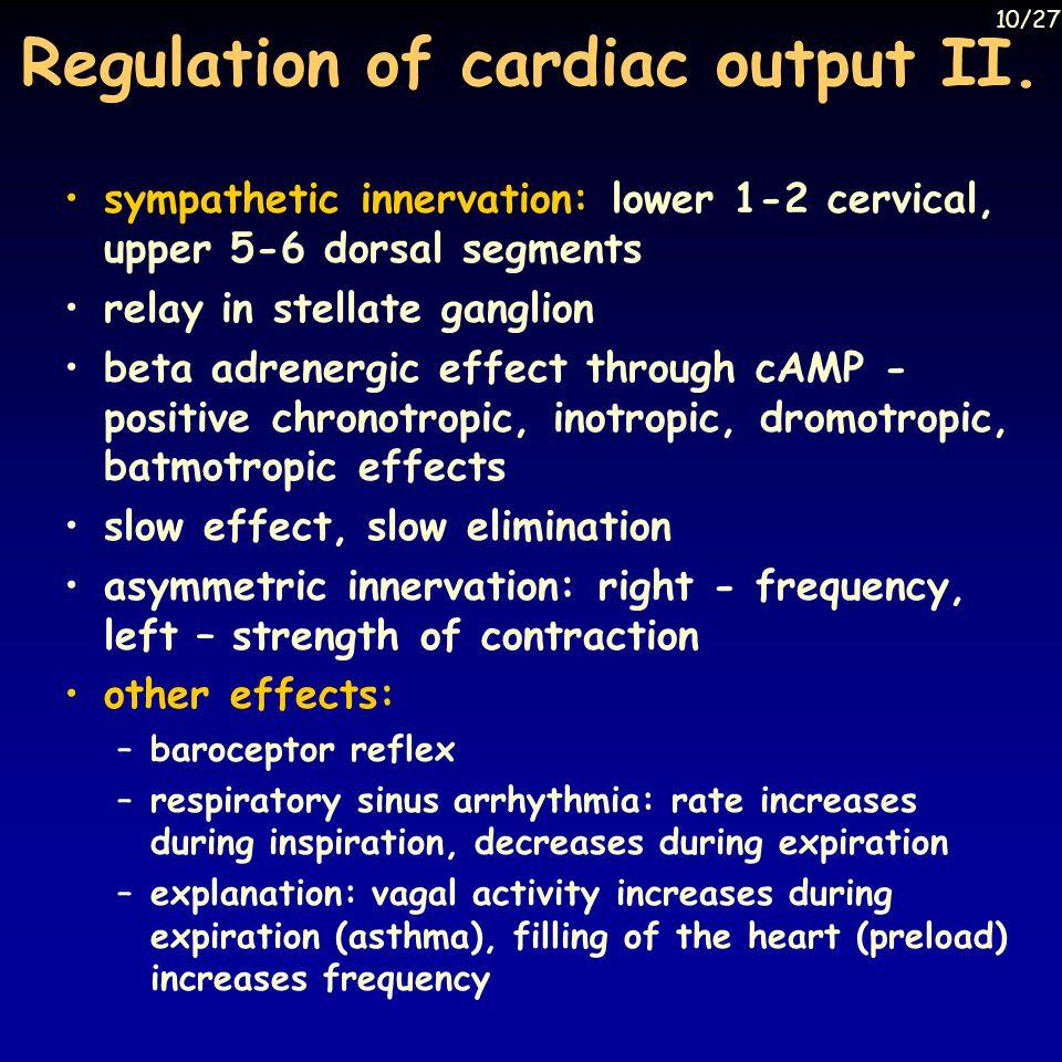 Regulation of cardiac output II.