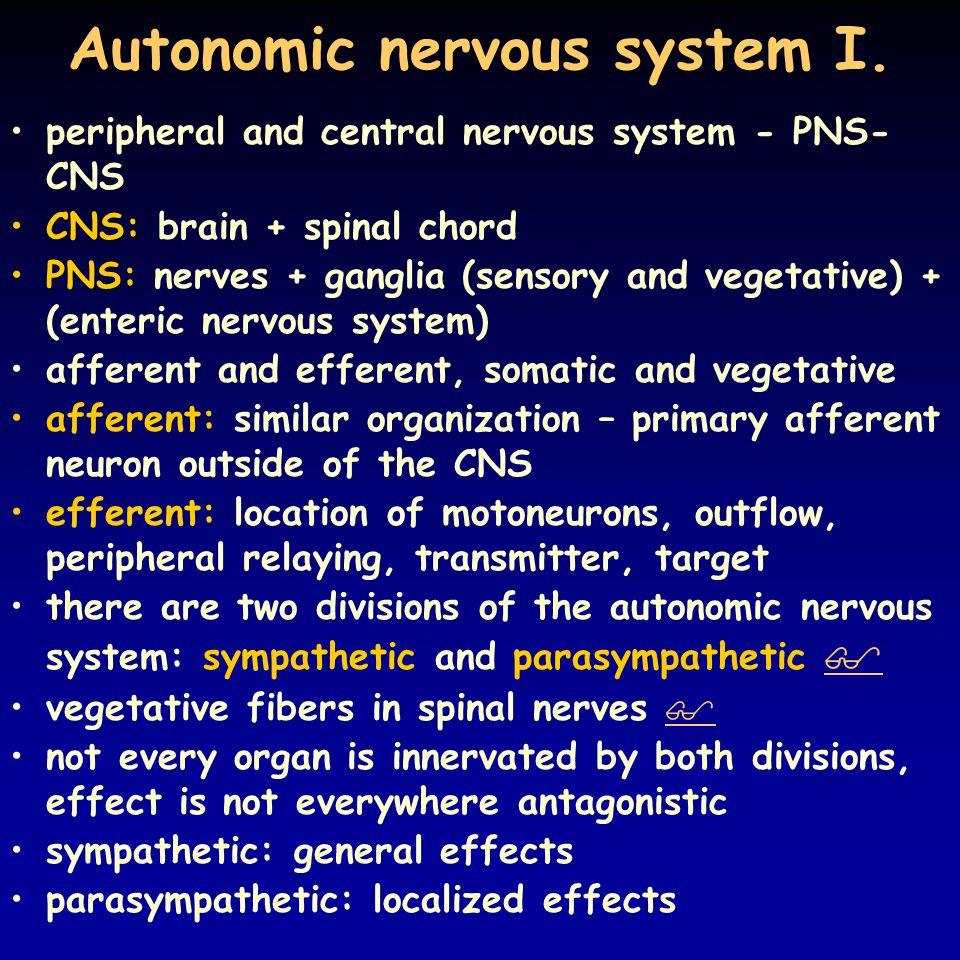 Autonomic nervous system I.