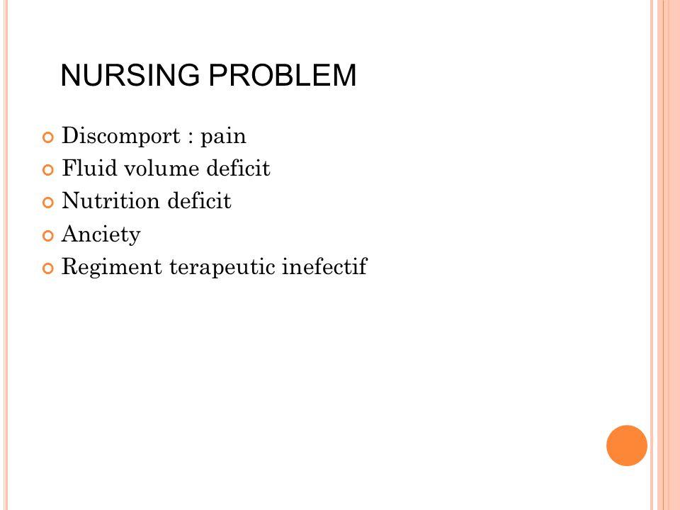 NURSING PROBLEM Discomport : pain Fluid volume deficit Nutrition deficit Anciety Regiment terapeutic inefectif