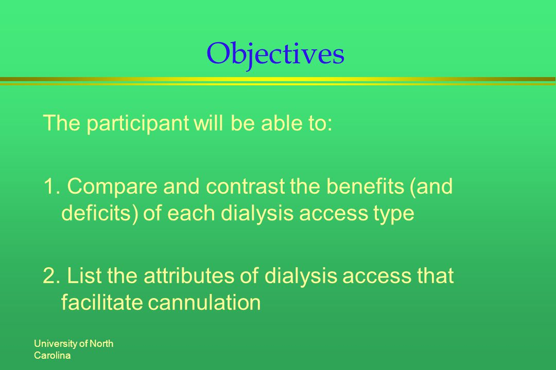University of North Carolina Objectives The participant will be able to: 1.