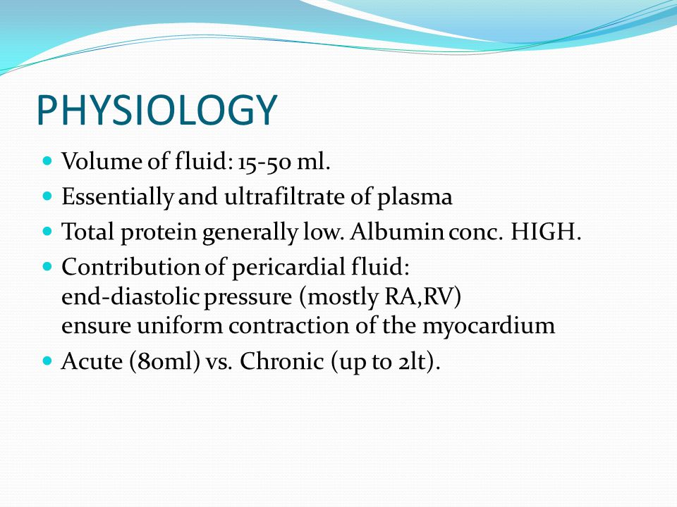 PHYSIOLOGY Volume of fluid: 15-50 ml.