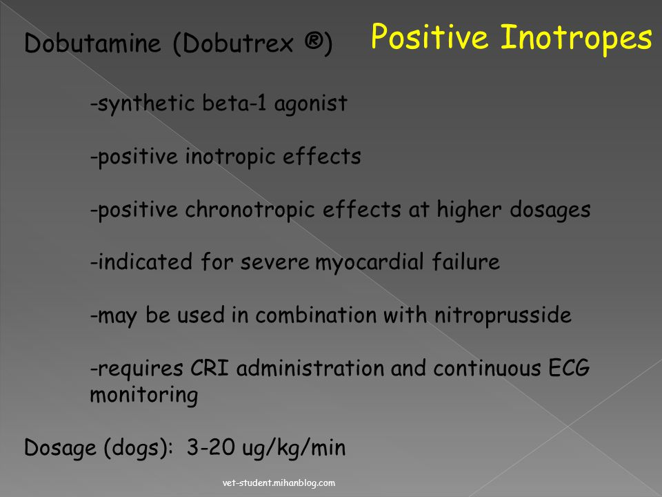 Positive Inotropes Digoxin (Cardoxin ®) -mild to modest positive inotrope -inhibits the Na/K ATPase -centrally increases vagal tone -restores barorefl