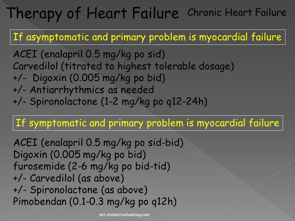 Therapy of Heart Failure Acute Heart Failure If the underlying process involves myocardial failure Dobutamine CRI (3-20 ug/kg/min) If the underlying p