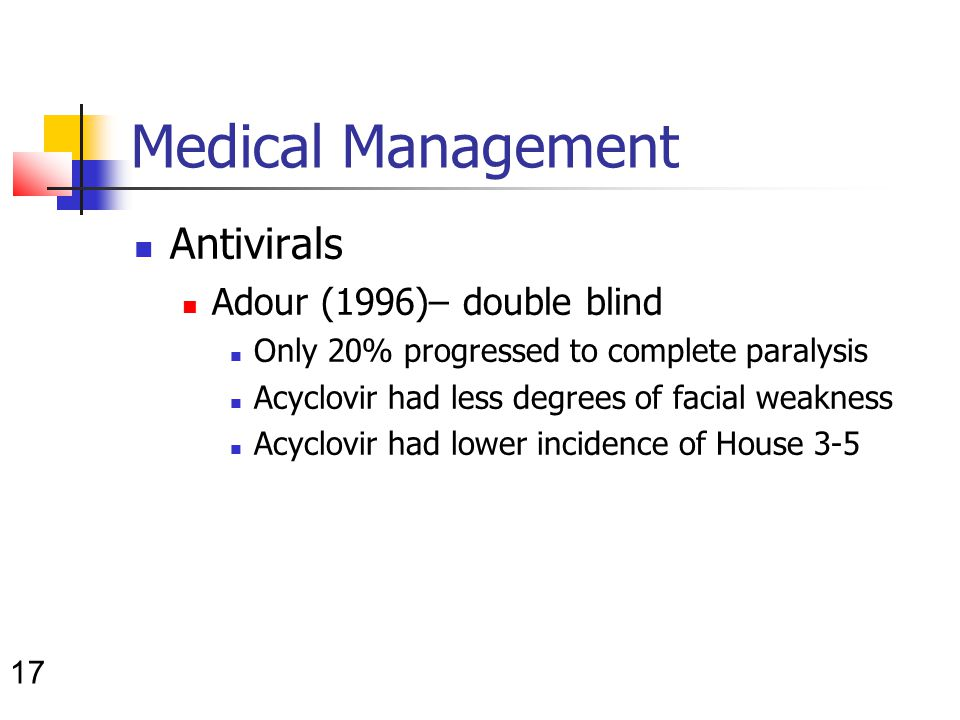 17 Medical Management Antivirals Adour (1996)– double blind Only 20% progressed to complete paralysis Acyclovir had less degrees of facial weakness Acyclovir had lower incidence of House 3-5
