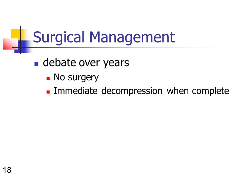 18 Surgical Management debate over years No surgery Immediate decompression when complete