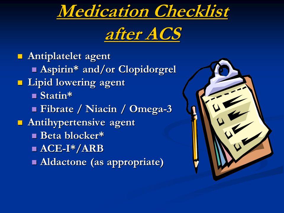 Medication Checklist after ACS Antiplatelet agent Antiplatelet agent Aspirin* and/or Clopidorgrel Aspirin* and/or Clopidorgrel Lipid lowering agent Lipid lowering agent Statin* Statin* Fibrate / Niacin / Omega-3 Fibrate / Niacin / Omega-3 Antihypertensive agent Antihypertensive agent Beta blocker* Beta blocker* ACE-I*/ARB ACE-I*/ARB Aldactone (as appropriate) Aldactone (as appropriate)