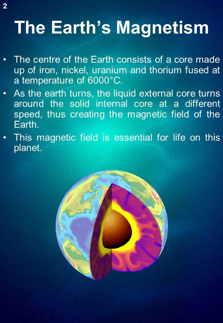 The Earth's Magnetism The centre of the Earth consists of a core made up of iron, nickel, uranium and thorium fused at a temperature of 6000°C. As the