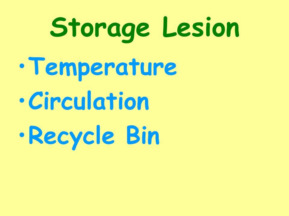 Storage Lesion Temperature Circulation Recycle Bin