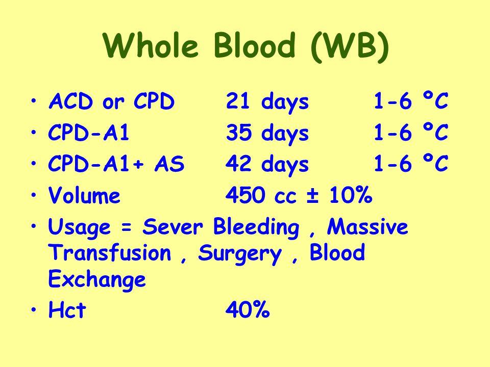Whole Blood (WB) ACD or CPD 21 days1-6 ºC CPD-A135 days1-6 ºC CPD-A1+ AS42 days 1-6 ºC Volume450 cc ± 10% Usage = Sever Bleeding, Massive Transfusion, Surgery, Blood Exchange Hct 40%