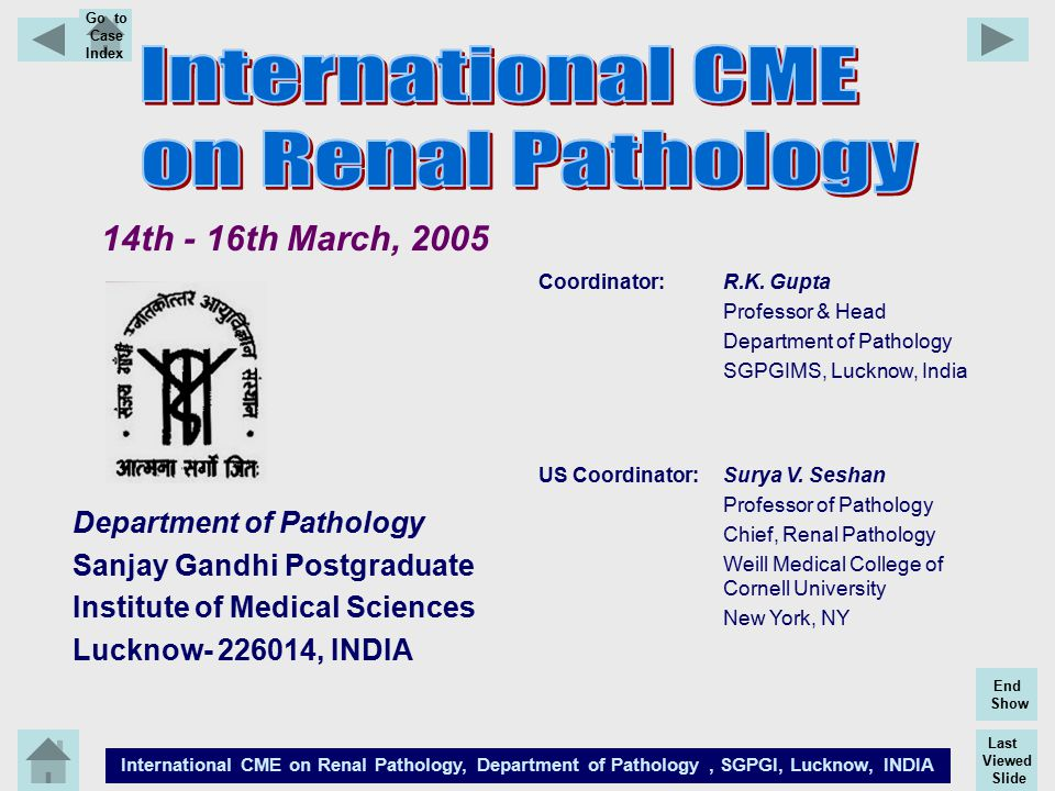 Last Viewed Slide International CME on Renal Pathology, Department of Pathology, SGPGI, Lucknow, INDIA End Show Go to Case Index 14th - 16th March, 20