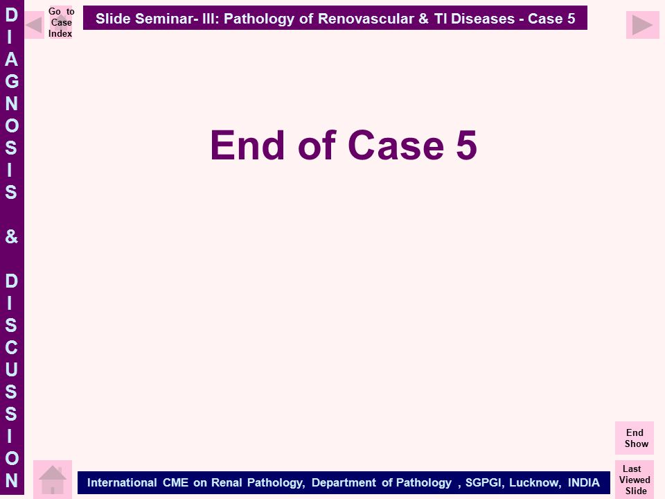DIAGNOSIS & DISCUSSIONDIAGNOSIS & DISCUSSION International CME on Renal Pathology, Department of Pathology, SGPGI, Lucknow, INDIA Last Viewed Slide En
