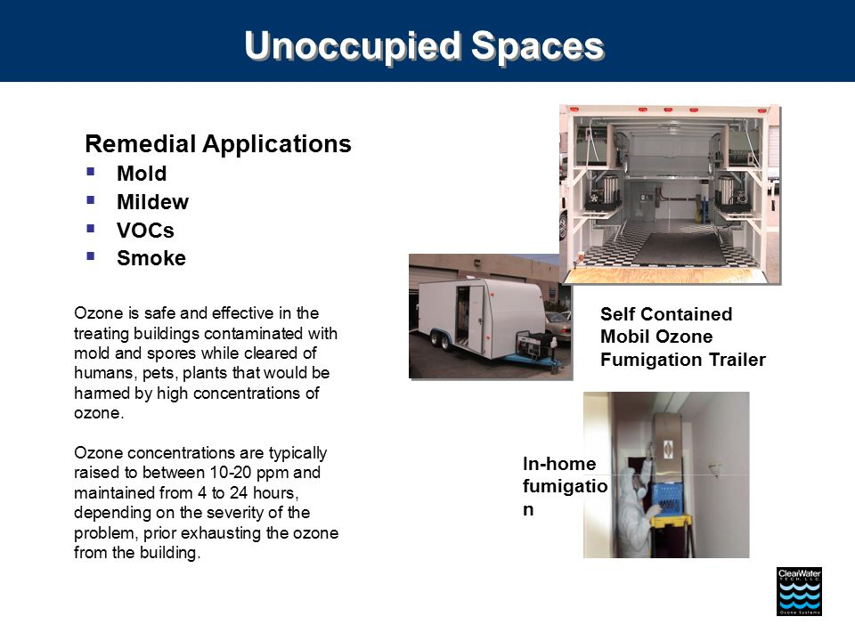 Self Contained Mobil Ozone Fumigation Trailer Unoccupied Spaces Remedial Applications  Mold  Mildew  VOCs  Smoke Ozone is safe and effective in th