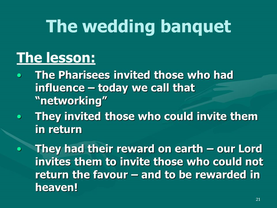 22 Outline Introduction 1.The Sabbath meal 2.The wedding banquet 3.The great banquet Transition