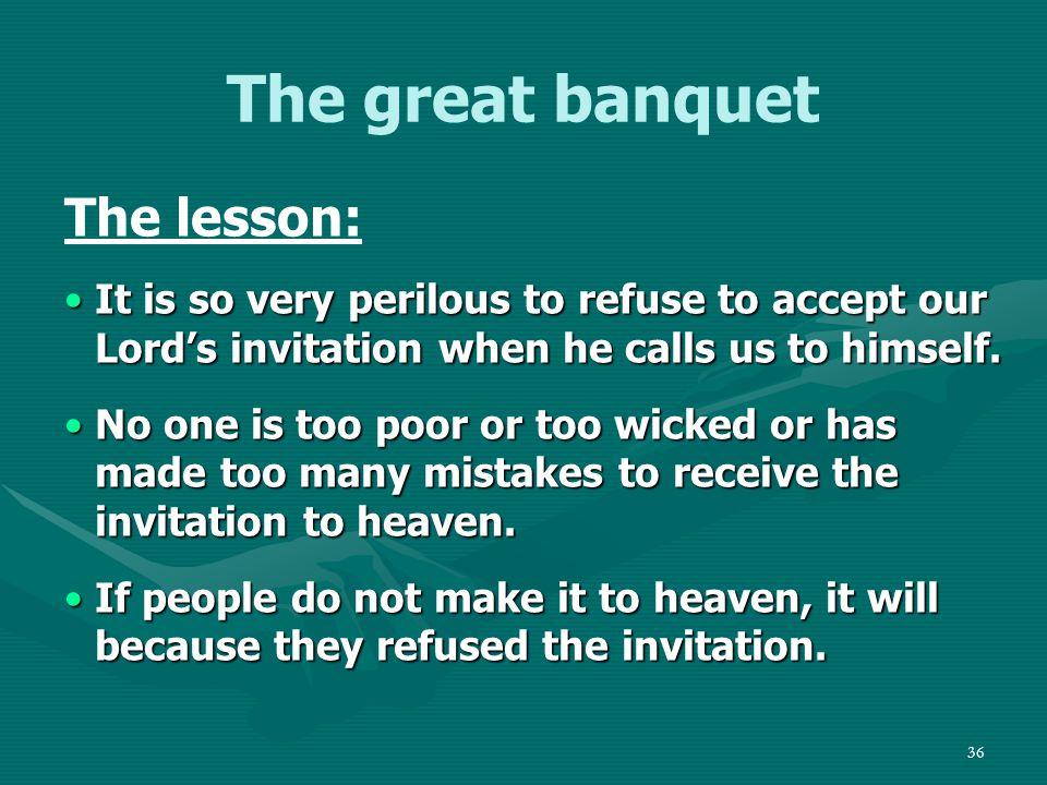 37 Outline Introduction 1.The Sabbath meal 2.The wedding banquet 3.The great banquet Transition