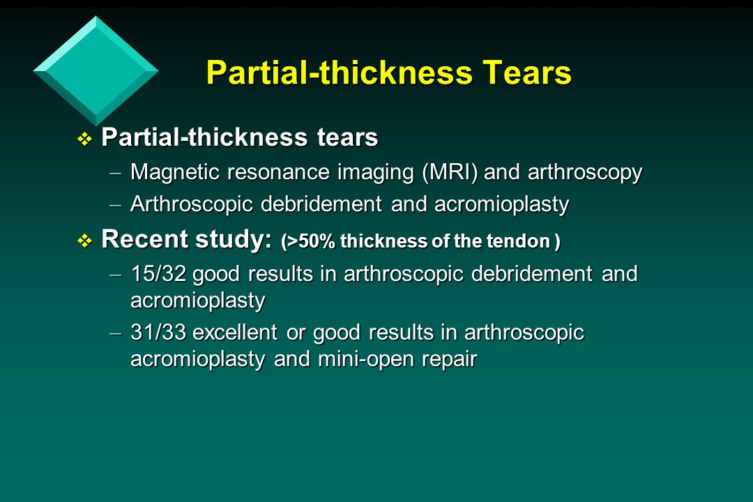 Partial-thickness Tears  Partial-thickness tears  Magnetic resonance imaging (MRI) and arthroscopy  Arthroscopic debridement and acromioplasty  Re