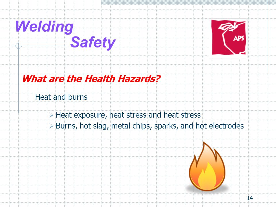 14 Welding Safety What are the Health Hazards? Heat and burns  Heat exposure, heat stress and heat stress  Burns, hot slag, metal chips, sparks, and