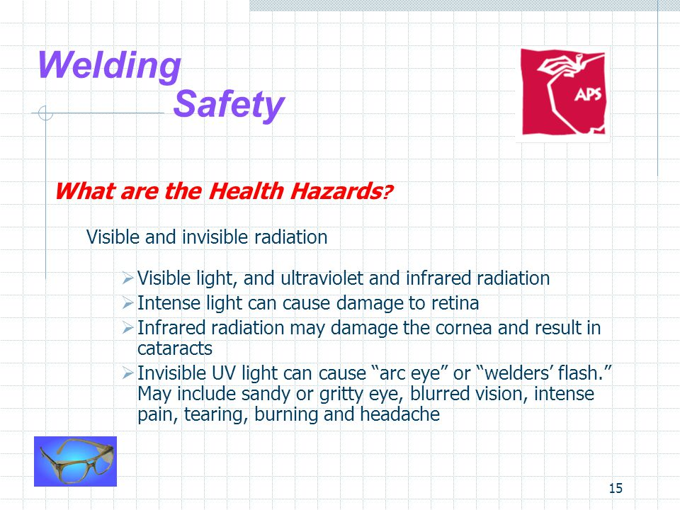 15 Welding Safety What are the Health Hazards ? Visible and invisible radiation  Visible light, and ultraviolet and infrared radiation  Intense ligh