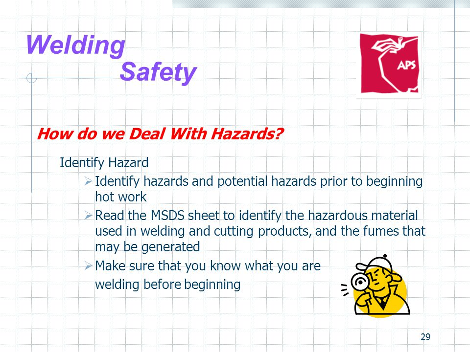 29 Welding Safety How do we Deal With Hazards? Identify Hazard  Identify hazards and potential hazards prior to beginning hot work  Read the MSDS sh